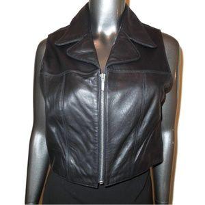 B B Dakota Black Leather Vest Medium